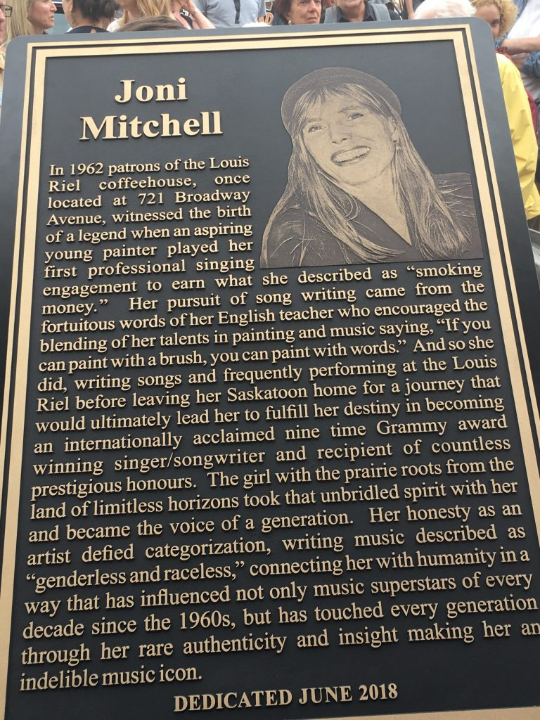 TRIBUTE TO JONI MITCHELL-PLAQUE UNVEILING