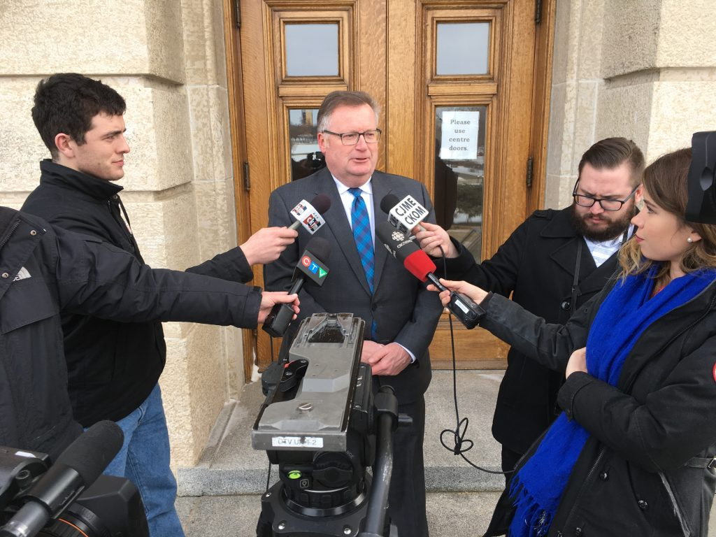 BUDGET 2018 MEDIA SCRUM OUTSIDE SASKATCHEWAN LEGISLATURE