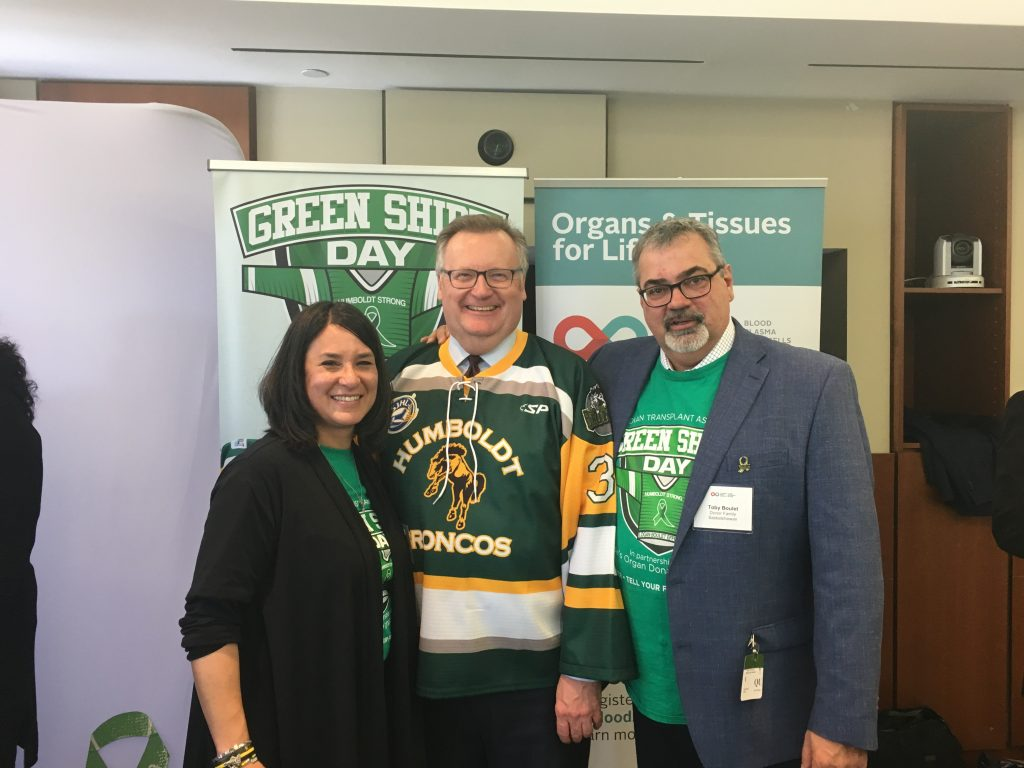 BERNIE & TOBY BOULET GREEN SHIRT DAY IN HONOUR OF HUMBOLDT BRONCOS LOGAN BOULET